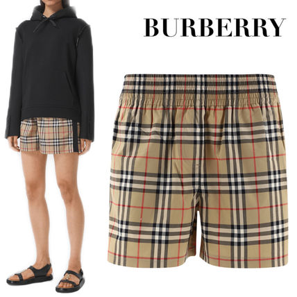 Burberry Short Stripes Other Plaid Patterns Casual Style Cotton