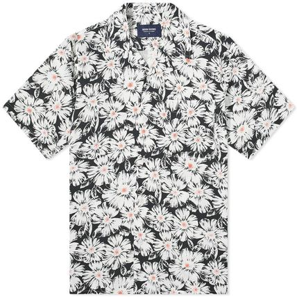 Button-down Flower Patterns Street Style Short Sleeves Logo