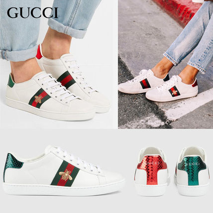 GUCCI Ace Round Toe Rubber Sole Casual Style Unisex Street Style