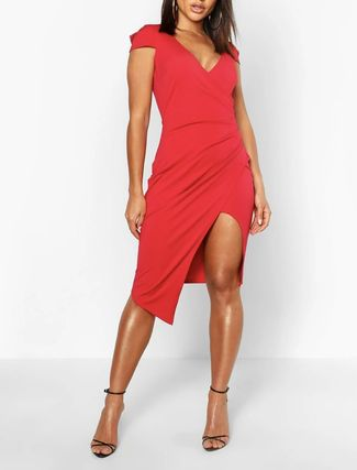 boohoo Tight Sleeveless Plain Medium Short Sleeves Party Style