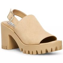 Steve Madden Open Toe Platform Round Toe Casual Style Suede Plain Leather
