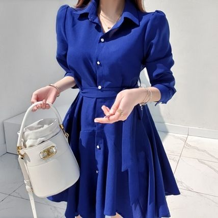 Casual Style Flared Plain Medium Office Style Shirt Dresses