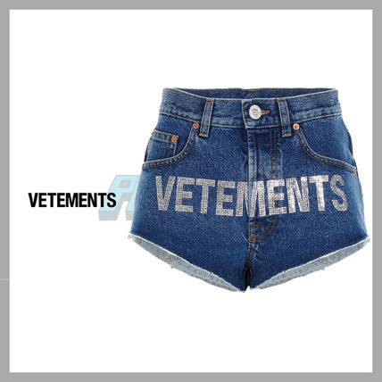 VETEMENTS Logo Unisex Plain Street Style Shorts