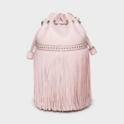 Calfskin Studded 2WAY 3WAY Chain Leather Purses Fringes