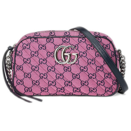 GUCCI GG Marmont Casual Style Leather Crossbody Logo Shoulder Bags