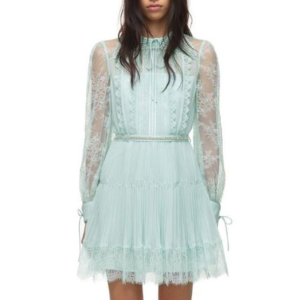 Short Casual Style Flared Long Sleeves Plain Lace