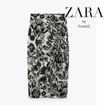 ZARA Pencil Skirts Flower Patterns Tropical Patterns Casual Style