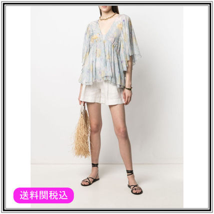 Flower Patterns Casual Style Silk Short Sleeves Office Style