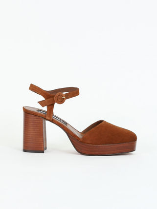 Platform Casual Style Suede Plain Leather