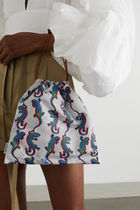 LOEWE Small Drawstring Lizard Pouch In Canvas And Calfskin