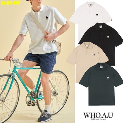 WHO.A.U Polos Pullovers Button-down Unisex Plain Cotton Short Sleeves
