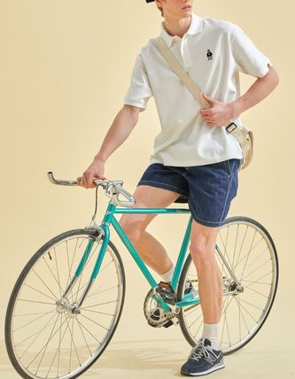 WHO.A.U Polos Pullovers Button-down Unisex Plain Cotton Short Sleeves 2