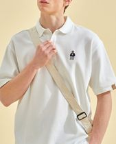 WHO.A.U Polos Pullovers Button-down Unisex Plain Cotton Short Sleeves 5