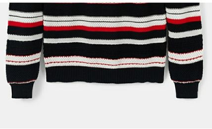 Crew Neck Short Stripes Casual Style Long Sleeves Cropped