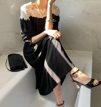 JULL-LOG Casual Style A-line Sleeveless V-Neck Plain Long Party Style