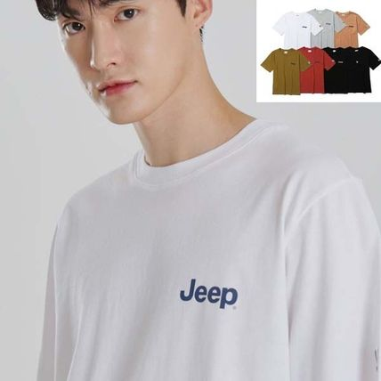 JEEP More T-Shirts Pullovers Unisex Studded Street Style U-Neck Plain Cotton