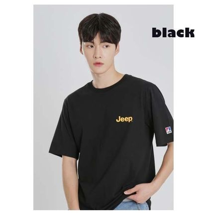 JEEP More T-Shirts Pullovers Unisex Studded Street Style U-Neck Plain Cotton 2