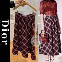 Christian Dior Flared Skirts Other Plaid Patterns Casual Style Wool