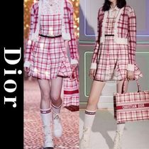 Christian Dior Other Plaid Patterns Casual Style A-line Wool Sleeveless