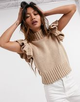 ASOS Y.A.S High Neck Knitted Top With Ruffle Sleeve In Camel