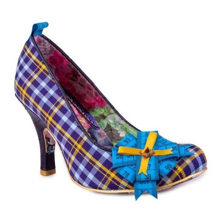 Other Plaid Patterns Round Toe Casual Style Block Heels