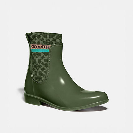 Coach Wedge Rubber Sole Logo Wedge Boots