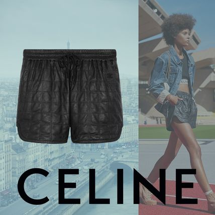 CELINE Short Casual Style Plain Leather Party Style Office Style
