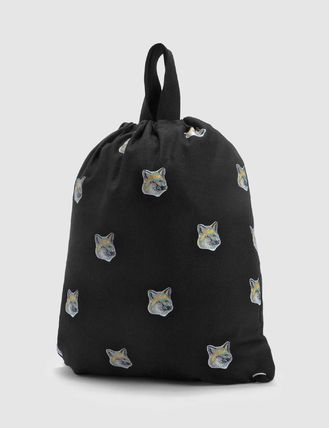 MAISON KITSUNE TOTE BACKPACK ALL-OVER PASTEL FOX HEAD