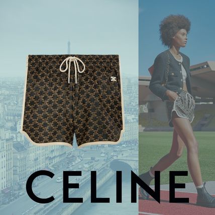 CELINE Printed Pants Short Monogram Casual Style Leather