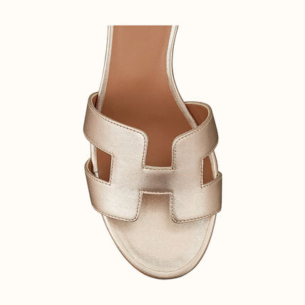 HERMES Oasis Open Toe Casual Style Plain Leather Elegant Style Sandals
