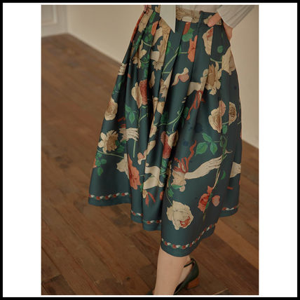 Short Flower Patterns Casual Style Pleated Skirts Medium