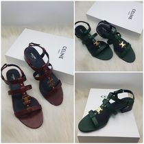 CELINE Casual Style Leather Office Style Logo Sandals