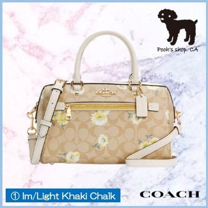 Coach Flower Patterns Canvas 2WAY Leather Crossbody Logo