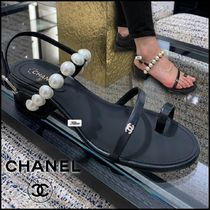 CHANEL Open Toe Platform Lace-up Casual Style Street Style Leather