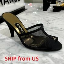 CHANEL ICON Open Toe Casual Style Plain Party Style Office Style