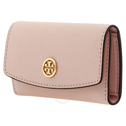 Tory Burch Plain Leather Logo Icy Color Keychains & Bag Charms