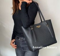 PRADA Casual Style A4 Plain Leather Office Style Totes