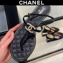 CHANEL Open Toe Casual Style Suede Plain Leather Party Style