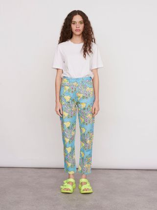 Printed Pants Flower Patterns Casual Style Unisex