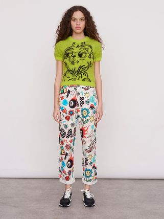 Printed Pants Casual Style Unisex Street Style Cotton Long