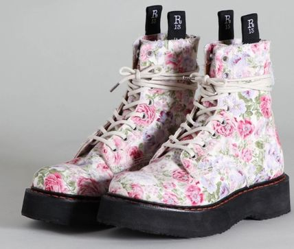 Flower Patterns Platform Lace-up Casual Style Lace-up Boots