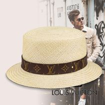 Louis Vuitton Blended Fabrics Street Style Straw Boaters Straw Hats