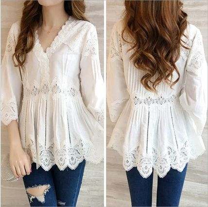 V-Neck Cropped Plain Medium Lace Puff Sleeves Tunics
