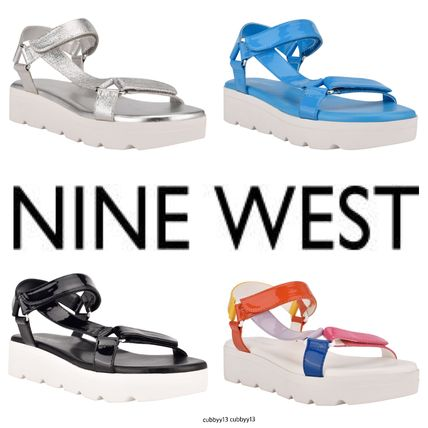 Nine West More Sandals Rubber Sole Casual Style Studded Street Style Leather