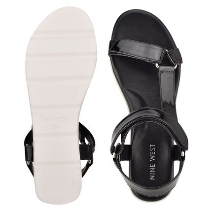 Nine West More Sandals Rubber Sole Casual Style Studded Street Style Leather 2