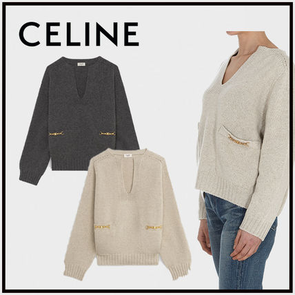 CELINE Cashmere Long Sleeves Chain Cashmere