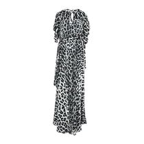 Just Cavalli Leopard Patterns Casual Style Tight Maxi Long Short Sleeves