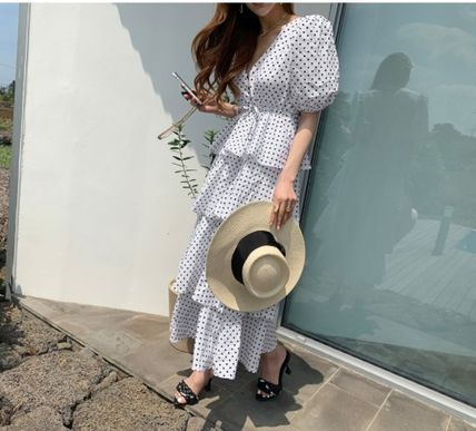 Dots Casual Style Maxi A-line Flared V-Neck Long