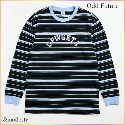 Odd Future Long Sleeve Crew Neck Pullovers Stripes Long Sleeves Cotton