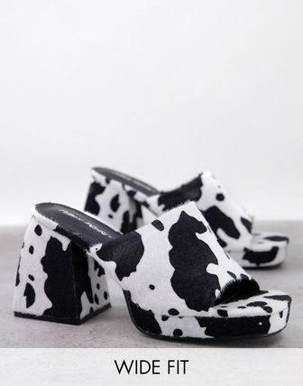Other Animal Patterns Chunky Heels Mules Sandals